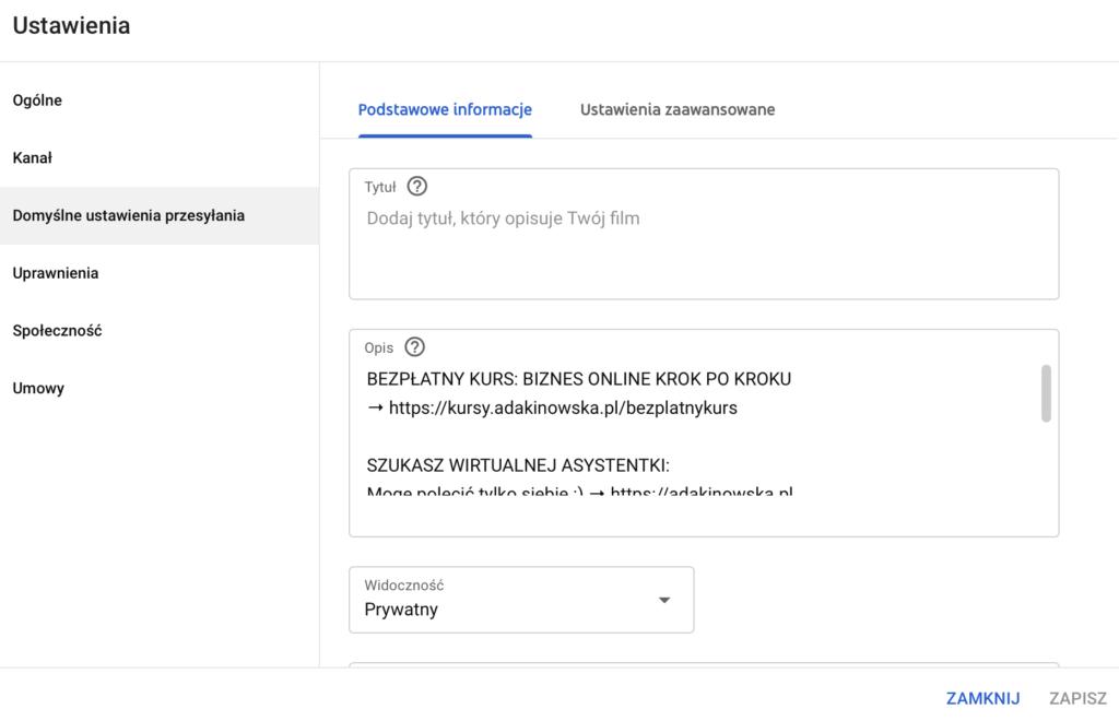kanał na YouTube -ustawienia domyślne