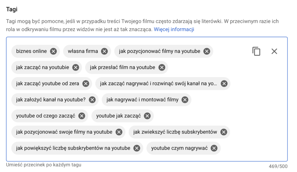 kanał na YouTube - tagi