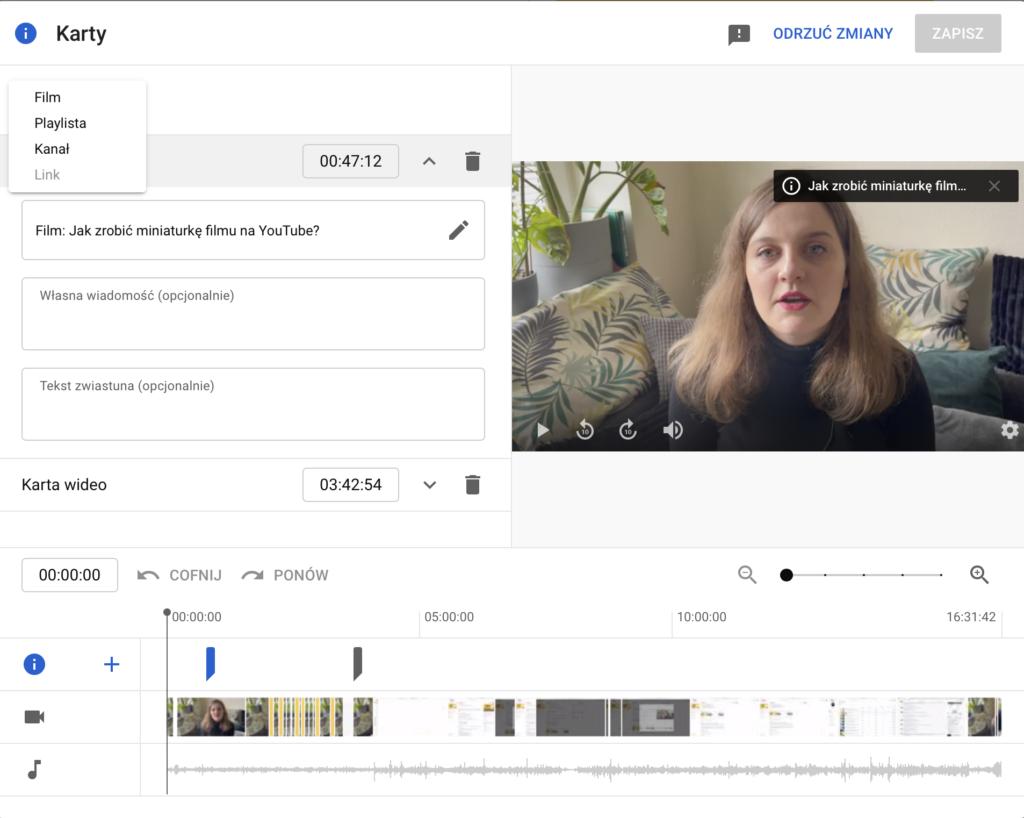kanał na YouTube - karty